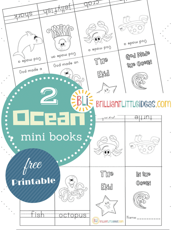Free Printable 2 Ocean Theme mini books Great for Sunday school, home school or daycare lesson. God made the ocean & In the ocean mini books. Ocean craft.