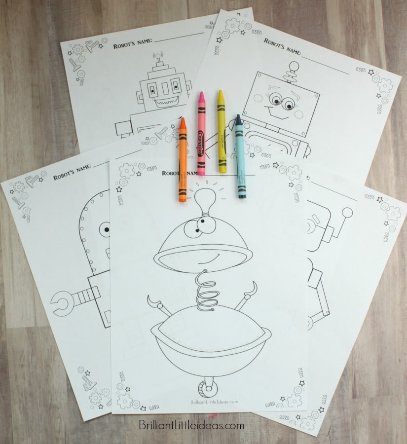 5 Free Robot Color Pages for kids. Free Printable Robot theme fun Friday. Print your color sheets and let your kids color away!