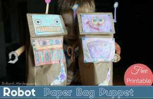 Robot Paper Sack Puppets This FREE Printable is great for your kids. Easy kids craft for your Robot theme fun Friday or a Rainy day craft.