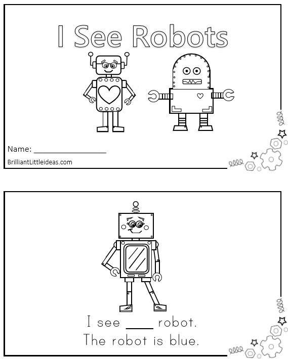 Free Printable! 2 Robot Emergent Reader Books. Robot theme printable book for kids emergent reader for kids Robot theme fun Friday