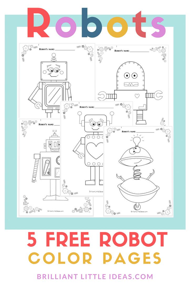 5 free robot color pages brilliant little ideas