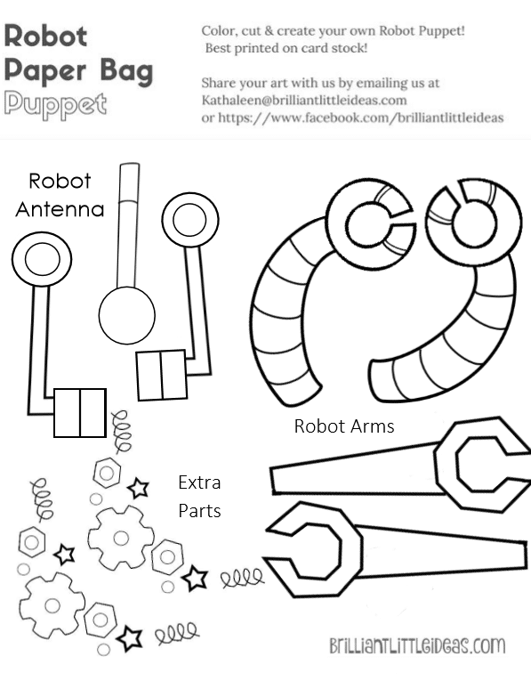 graphic regarding Printable Paper Bag Puppets named Robotic Paper Sack Puppets Good Tiny Recommendations