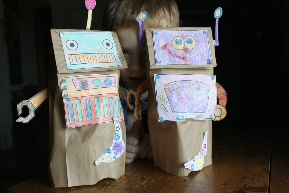 robot paper sack puppets