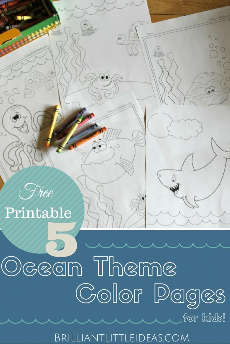 5 ocean theme color pages brilliant little ideas