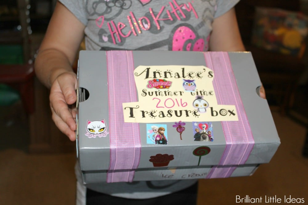 Time Capsule Treasure Box for kids. Shoe box craft, summertime craft, pirate theme craft recycling craft for kids easy kid craft activity