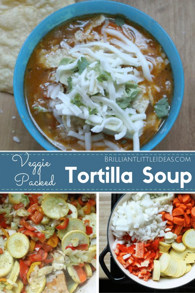 My kids loved this Chicken Veggie Packed Tortilla Soup. A great recipe for hidden veggies. Quick kid friendly chicken dinner recipe.