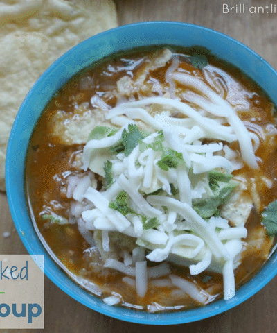 My kids loved this Chicken Veggie Packed Tortilla Soup. A great recipe for hidden veggies. Quick kid friendly chicken dinner recipe.