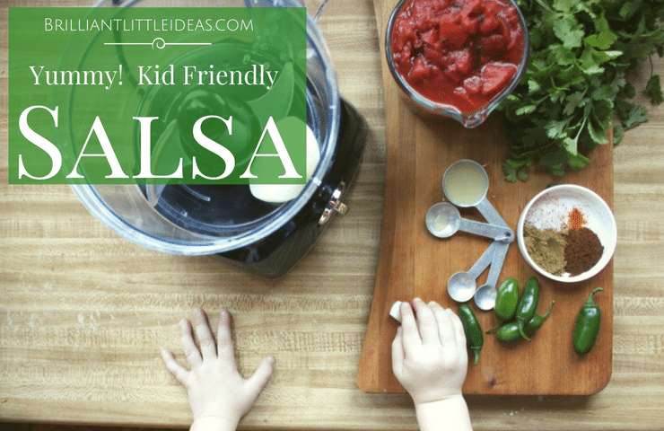 This Kid Friendly Salsa is a great go to quick snack. My kids dip chips or veggies in this mild salsa. Snack for kids, fast snack. Healthy snack for kids.