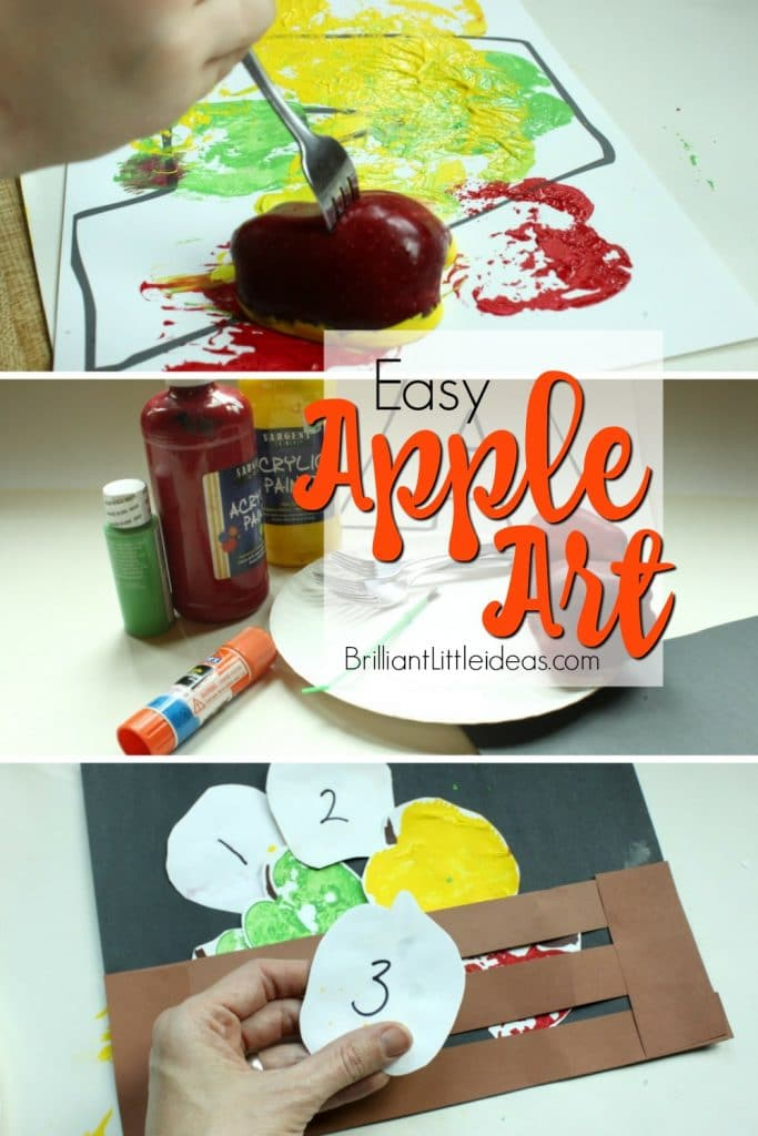 Easy Apple Art with letter a printable for kids to apple stamp. You can also make an apple basket then count the apples. quick craft for kids
