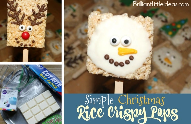 Simple Christmas Rice Crispy Pops are great for a classroom snack. Classroom party church potluck, Christmas party, Holiday party, fun kid snack