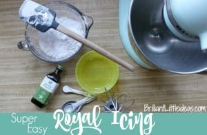 Super Easy Royal Icing, no meringue powder, cookie icing, cake icing, gingerbread house icing, quick royal icing, fast royal icing