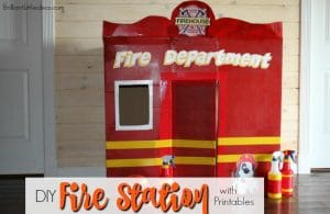 Your kids will love this DIY Fire Station with free Printables. Great for a Fireman Theme Birthday or Fireman role play day to keep your kids busy for hours