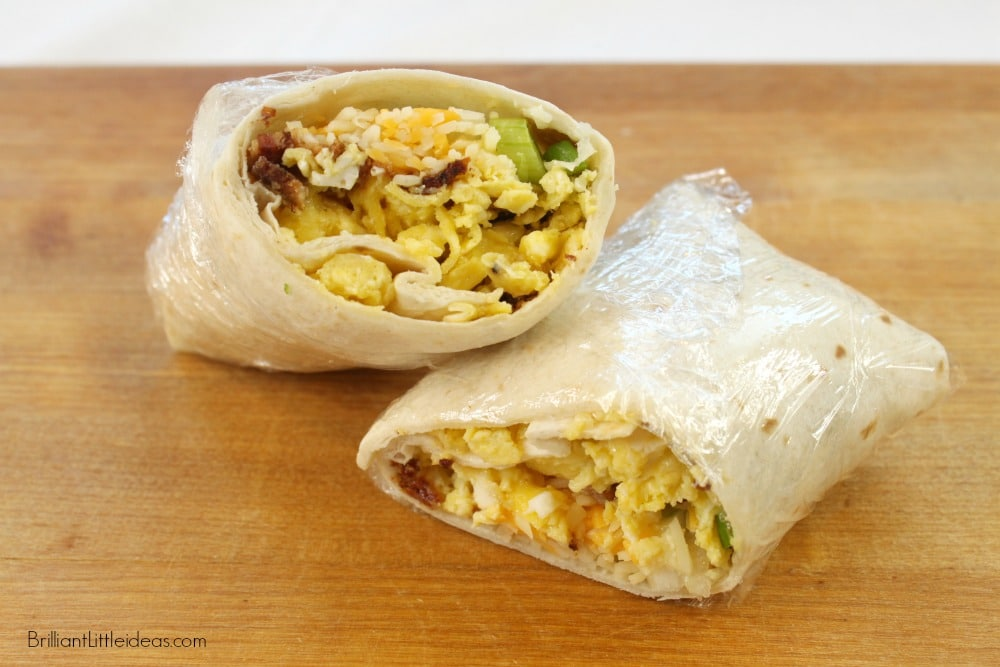 Easy Freezer Breakfast Burritos are a staple at my house. Its a make ahead alternative to cereal for kids. #breakfastburritos #freezer food