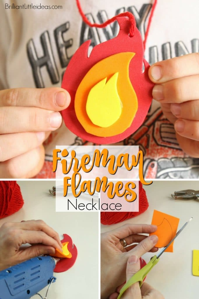 What a great craft for your kids to make at a Fireman Birthday or just for a day of Fireman theme fun! Printable Fire Flame Necklace Template kids activity. Fireman Birthday Theme #Fireflames #firemantheme #firemanpretendplay #diyfireman #funforkids