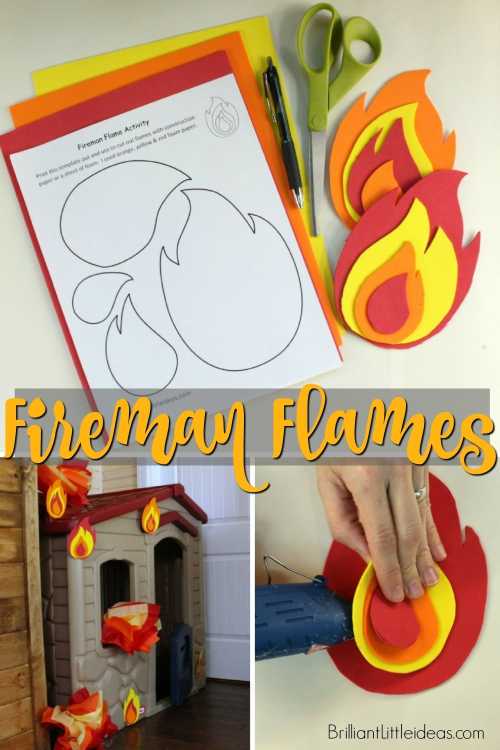 how to make fire flames with printable template
