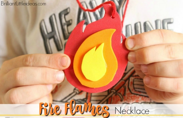 What a great craft for your kids to make at a Fireman Birthday or just for a day of Fireman theme fun! Printable Fire Flame Necklace Template kids activity.
