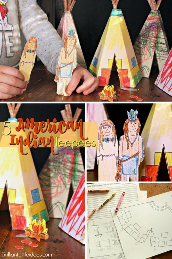 Mini Indian teepees are a Quick thanksgiving craft. Kids will love DIY 5 Native American Teepee Printable. #teepee #indian #thanksgiving #freeprintables