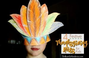 Let your kids color & craft their own DIY hats. Choose from an Indian, Pilgrim, Bonnet, or Turkey. 4 Fun Thanksgiving Hats for Kids -Printable #thanksgiving