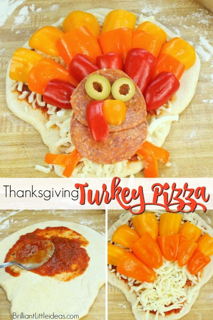 Sick of Thanksgiving food but still want something festive? Try this DIY Turkey Pizza for your kids. #Thanksgiving #kidfood #holidayfun #pizza #homemadeizza