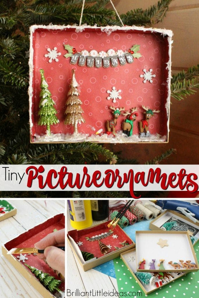 Make this fun Tiny Picture Ornaments for your Christmas Tree. Its an easy diy craft to keep your kids busy. Fast Holiday Decoration #Christmas #kidsCraft
