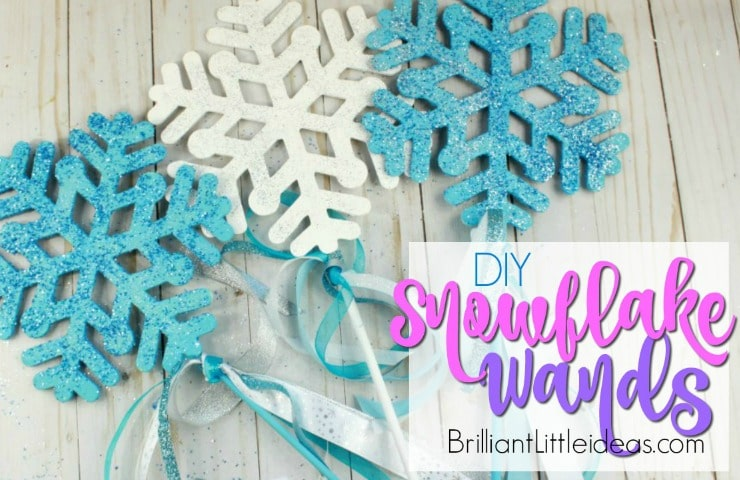 Your kids are going to love this DIY Snowflake Wand party favor. It goes great with a Frozen Elsa Costume. We used ours for pretend play being Snow Queens in a winter wonderland. Beautiful Birthday party favors or centerpieces. Watch the video on how to make your own snowflake wand
