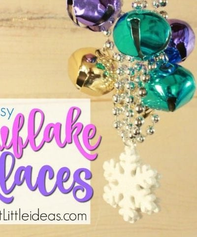 Let your kids create a fun winter craft, or give them as party favors. Snowflake Necklaces are my go to k way to keep kids busy on those snow days, or rainy days. This DIY kid necklace craft is easy for older kids to make by themselves. Kids will love to give these to their friends.
