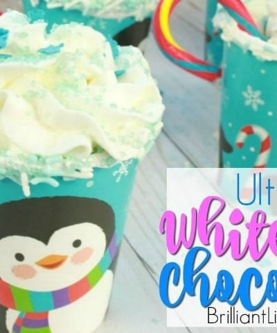 The Ultimate White Hot Chocolate is sure to put a smile on any kids face. Especially what is on the rim. They will be begging for more hot cocoa. This recipe is easy and even has a how to video. Peppermints are an added bonus as well as sprinkle toppings.