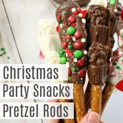 Christmas Party Snacks -Chocolate Dipped Pretzel Rods