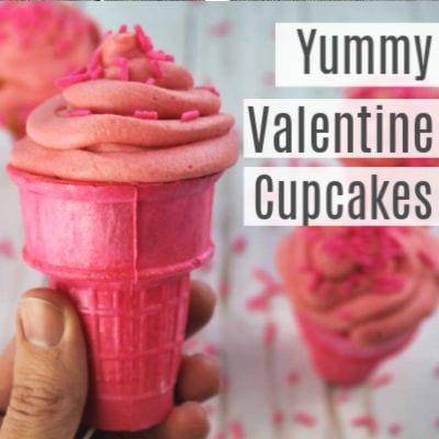 Easy Valentine's Ice Cream Cone Cupcakes