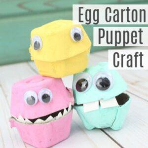 Easy Egg Carton Puppet Craft for Kids
